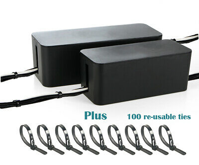 2 Set Cable Management Box Organizer with Reusable/Releasable Wire Ties