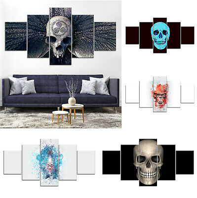 Skull Modern Abstract Canvas Print Painting Framed Home Decor Wall Art Poster 5P