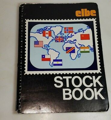 Vintage Mixed US Postage Stamps & foreign stamps used &unused elbe Stock Book