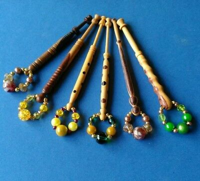 6 Wooden Turned Lace Bobbins, 2 Spotted, 2 Two Woods & 2 Two Grains & Spangles.