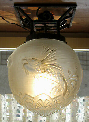 Stunning French Art Deco Ceiling Lamp 1920/1930 By Pierre D`avesn / Daum Lorrain