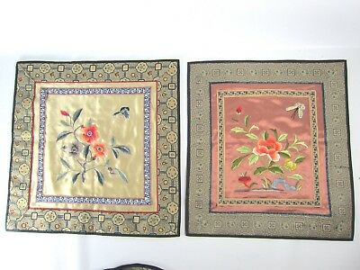 Pair of Chinese Hand Embroidery Pieces Republican Period
