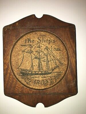 The Ships Inn 1802 coasters - Set of 8 Vintage Wooden and Cork Coasters