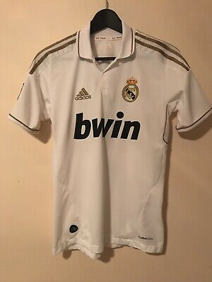 new products 5c6bc 1e2d5 ADIDAS REAL MADRID Cristiano Ronaldo Jersey 2011 - 2012 Gold White Youth  Large L
