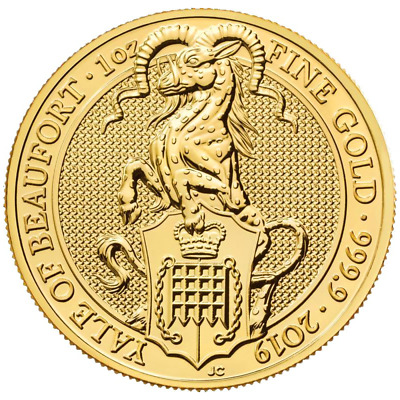 2019 U.K. 100 Pound 1 oz Gold Queen's Beast Yale of Beaufort BU