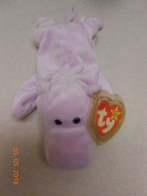 NEW Retired Original TY Beanie Baby Happy the Hippo kids purple plush  Easter Gif ad48a91819d3