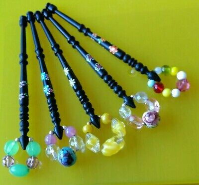 5 Black Turned Plastic Lace Bobbins with Flowers on shank. Spangles.