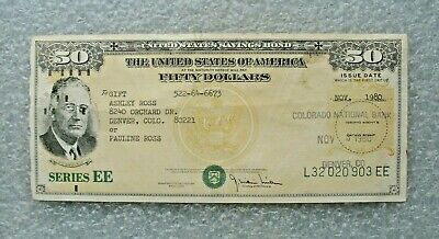 Vintage Series EE $50 U.S.1980 Savings Bond Advertising Roosevelt Colorado Bank