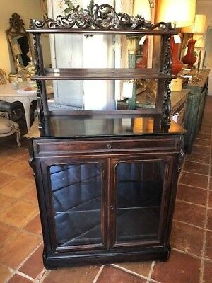 Antique Rosewood Display or Curio Cabinet Glass Doors Made in France