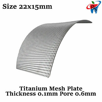 Dental Implant Titanium GBR Mesh Plate Surgical Barrier Membrane 0.1mm 22x15mm