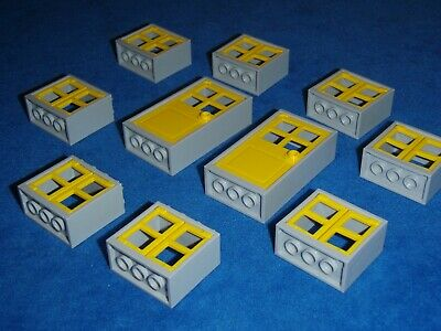 GMT99 3 x Yellow Doors and Windows with Clear Glass 1x4x5 Studs Lego