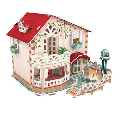 DIY Wooden Doll House Kit Miniature Villa Buildings with Furniture LED Light