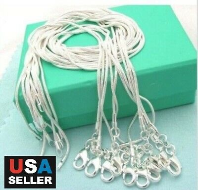 """5pcs/lot 925 Sterling Silver Plated Snake Chain Necklace 1mm 18"""" 20"""" 22"""" 24"""""""