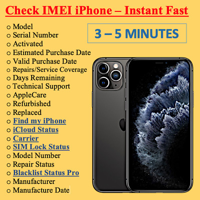 FAST iPhone info Check -IMEI /Simlock/Carrier /Find My Iphone /Blacklist Status