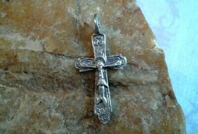 "UNIQUE c. 18th CENTURY SILVER ""84"" ORTHODOX or CATHOLIC CRUCIFIX ""THE REDEEMER"""