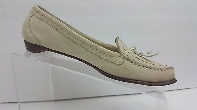 e1093291771 Cole Haan Off White Leather Moc Toe Tassel Loafers Women s 7B