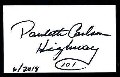Paulette Carlson C/W Singer/Songwriter -Highway 101 Signed 3x5 Index Card C17877
