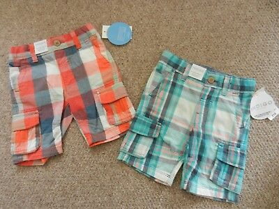 BNWT M&S Boys 2 x Check Shorts Adjustable Waist Age 1.5-2 Years 18-24 months