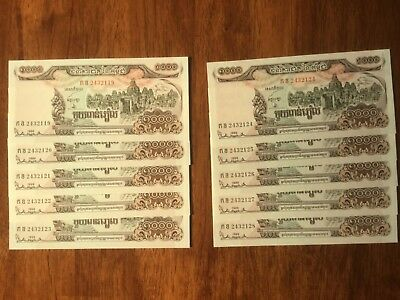 10 X 1999 Cambodian 1000 riel bank notes. Unc. & Cons.