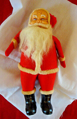 "Vintage 11"" Paper Mache Felt covered Santa Claus Doll"