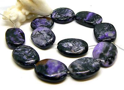 11 RARE NATURAL PURPLE CHAROITE OVAL/ NUGGET BEADS 23-25mm 278cts 15.5 Strand