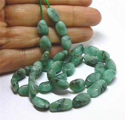 """GENUINE NATURAL SMOOTH EMERALD FREE FORM NUGGET BEADs 124cts 10-14mm 16"""" STRAND"""
