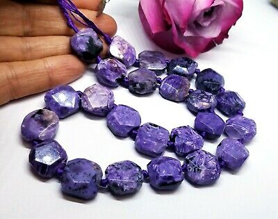"""24 RARE NATURAL FACETED PURPLE CHAROITE BEADS 13-14mm 286cts 15.5"""" STRAND AAA"""