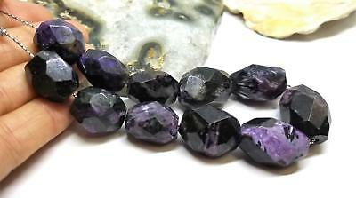 """11 RARE NATURAL FACETED PURPLE BLACK CHAROITE NUGGET BEADS 17-20mm 149cts 8"""""""