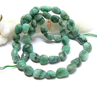 """GENUINE NATURAL SMOOTH EMERALD FREE FORM NUGGET BEADs 117cts 8-10mm 16"""" STRAND"""