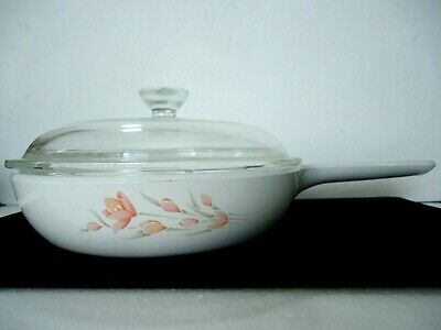 """Corning Ware Peach Flower Floral Skillet with Pyrex Lid 7"""" S-6-B Waffled Bottom"""