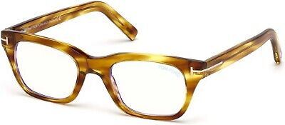 f6b44fc668a Tom Ford TF 5536 FT5536 -B shiny striped light brown blue block 045  Eyeglasses