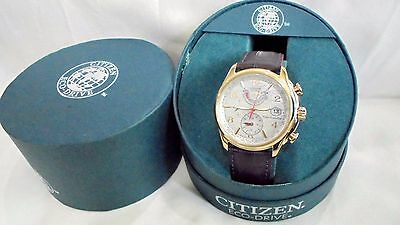 NEW CITIZEN ECO DRIVE WOMEN'S WORLD TIME mother of pearl ATOMIC WATCH FC0003-18D