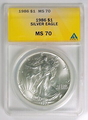 1986 American Silver Eagle $1 ASE ANACS MS 70 Top Pop Registry Coin