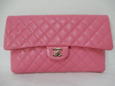 422c7d5599f4 CHANEL CLASSIC FLAP Bubble Gum Pink Caviar Large Clutch Bag New 2019 ...