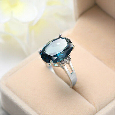 Holiday Gift Oval Cut Huge London Blue Topaz Solid Silver Woman Ring Size 6-10