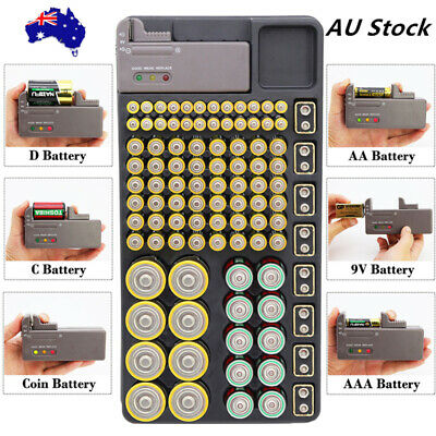 AAA AA 9V C D Battery Storage Organizer Tester Case Removable Tester Wall Mount