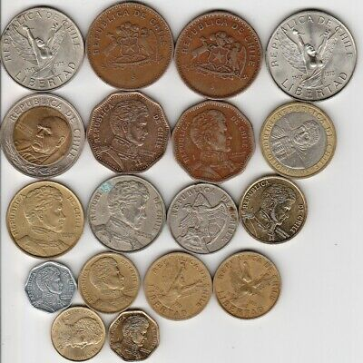17 different world coins from CHILE some scarce