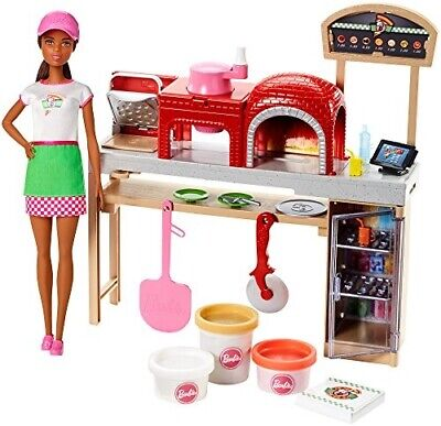 Barbie Pizza Chef Doll and Playset, Brunette - Dolls & Accessories (Barbie)