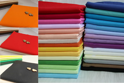 100% Cotton Sheeting Fabrics Plain Solid Colours By The Metre Craft Bed Lining