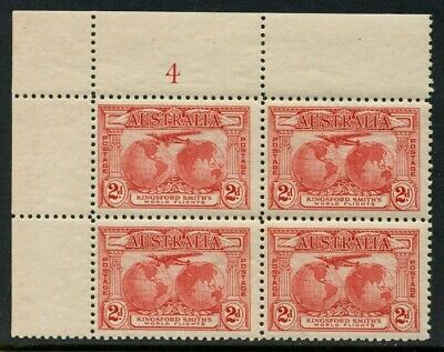 50% OFF! 1931 Kingsford Smith's Flights 2d Red *PLATE NUMBER BLOCK* MH SG 121 8B