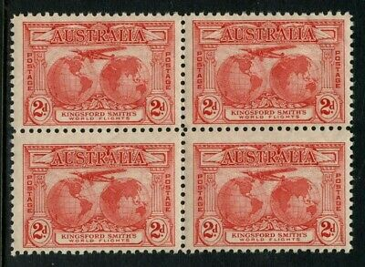 50% OFF! 1931 Kingsford Smith 2d Red *BLOCK OF 4* MUH SG 121 5E9
