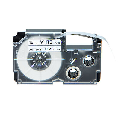 Compatible Casio XR-12WE Black on White Label Tape for EZ KL-7000 12mm 1/2""