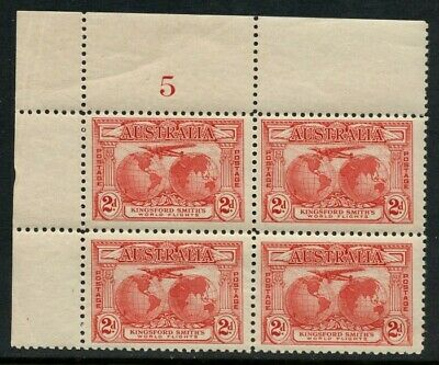 50% OFF! 1931 Kingsford Smith's Flights 2d Red *PLATE NUMBER BLOCK* MH SG 121 AE