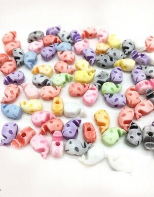 320 pcs acrylic pastel colours skull beads assorted colours 7mmx6mm kawaii
