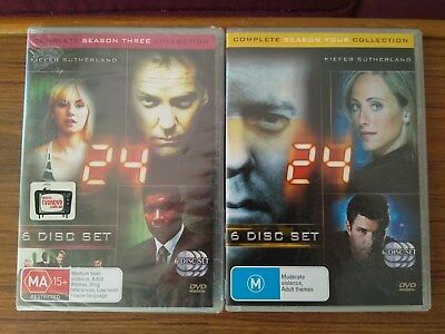 """24      """"COMPLETE SEASONS 3 (SEALED) and 4""""     R.4    DVD"""