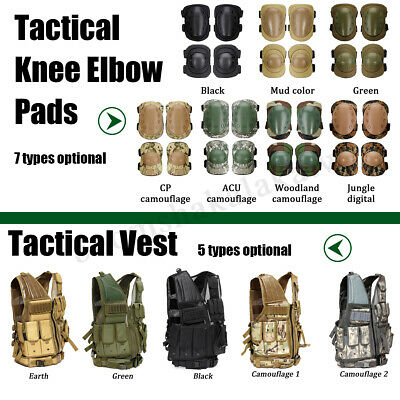 Tactical Military Vest Paintball Airsoft /4pcs Combat Knee & Elbow Pads Army Set