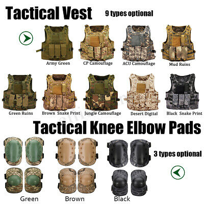 Military Tactical Vest Airsoft Molle Combat Plate Elbow Knee Pads Protector Gear