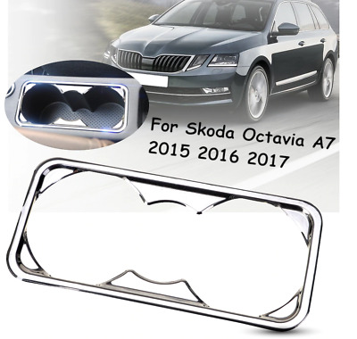 Stainless Steel Water Drinks Cup Holder Decoration Cover Trim Skoda Octavia
