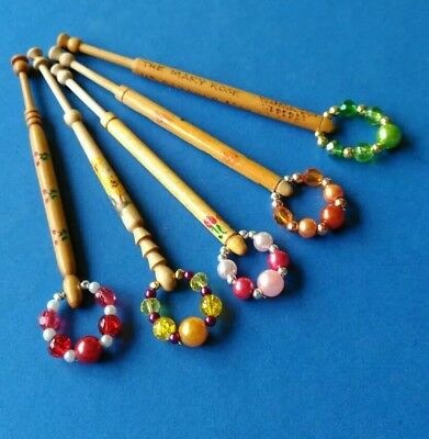 5 Wooden Turned Lace Bobbins, with Painted Flowers & 1 of Mary Rose.