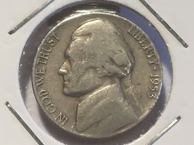 "1953""D"" US Jefferson nickel."